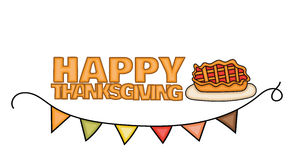 Happy Thanksgiving Day banner sign with a pie on a plate for dinner. Stock Image