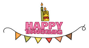 Happy Thanksgiving Day banner sign with two burning candles. Stock Photography