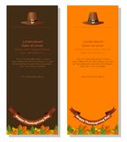 Thanksgiving banners set. Happy Thanksgiving Day. Banners set with symbols of Thanksgiving - pilgrim hat and fallen autumn leaves Stock Images