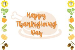 Happy Thanksgiving Day Black and White Text Card Background with pumpkinHappy Thanksgiving Day Text Card Background vector illustration