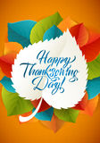 Happy Thanksgiving Day. Calligraphy Greeting Leaf Card With Polka Dot Background. Vector Happy Thanksgiving Card with Stock Photos