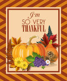 Happy Thanksgiving Day card with autumn vegetables and pumpkins. Happy Thanksgiving Day poster in vintage style with autumn vegetables and pumpkins Stock Photo