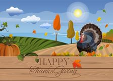 Happy Thanksgiving Day card. Thanksgiving background with turkey and rural landscape. Happy Thanksgiving Day card. Vector illustration Stock Image