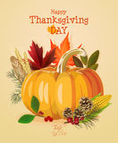 Happy Thanksgiving Day card with big pumpkin. Happy Thanksgiving Day poster in vintage style Royalty Free Stock Photos