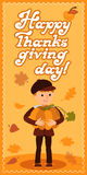Happy thanksgiving day card with child leafs and congratulation lettering. Vector illustration family holiday. Boy big Royalty Free Stock Photography