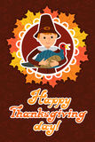 Happy thanksgiving day card with child leafs and congratulation lettering. Vector illustration family holiday. Boy Stock Images