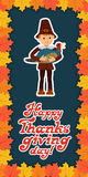 Happy thanksgiving day card with child leafs and congratulation lettering. Vector illustration family holiday. Boy Royalty Free Stock Images