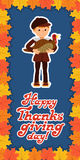 Happy thanksgiving day card with child leafs and congratulation lettering. Vector illustration family holiday. Boy Stock Image