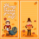Happy thanksgiving day card with child leafs and congratulation lettering. Vector illustration family holiday. Boy Girl Stock Photo
