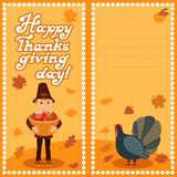 Happy thanksgiving day card with child leafs and congratulation lettering. Vector illustration family holiday.Boy turkey Royalty Free Stock Image