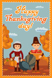 Happy thanksgiving day card with child leafs and congratulation lettering. Vector illustration family holiday. Girl boy Stock Images
