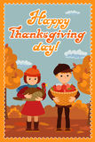 Happy thanksgiving day card with child leafs and congratulation lettering. Vector illustration family holiday. Girl boy Royalty Free Stock Photos