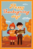 Happy thanksgiving day card with child leafs and congratulation lettering. Vector illustration family holiday. Girl boy Royalty Free Stock Photography