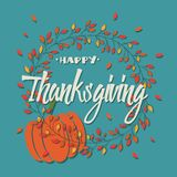 Happy Thanksgiving day card with decorative elements, floral wreath and pumpkin, colorful design. Vector illustration royalty free illustration