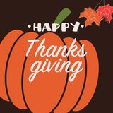 Happy Thanksgiving day card with decorative elements, orange pumpkin, colorful design. Vector illustration vector illustration