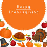 Happy Thanksgiving Day card design with holiday Stock Photography