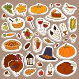 Happy Thanksgiving Day icons vector set for family celebration. Happy thanksgiving day card design with holiday objects. Fresh food harvest autumn season Royalty Free Stock Photos