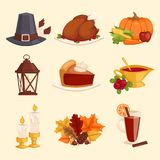 Happy Thanksgiving Day icons vector set for family celebration. Happy thanksgiving day card design with holiday objects. Fresh food harvest autumn season Stock Images