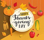 Happy Thanksgiving day card on geometric background. Stock Photography