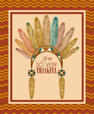Happy Thanksgiving Day card with Indian feather Royalty Free Stock Photo