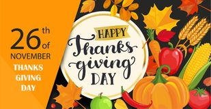 Happy Thanksgiving day card with lettering in gold circle frame. Stock Photo