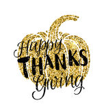 Happy Thanksgiving Day card. With lettering. Golden glitter design. Vector Pumpkin silhouette  on white Stock Image