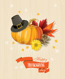 Happy Thanksgiving Day card with light wooden background. Happy Thanksgiving Day poster in vintage style with light wooden background Stock Photography
