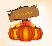 Happy Thanksgiving Day card, poster or with leaves and pumpkin.  Royalty Free Stock Image