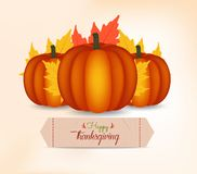 Happy Thanksgiving Day card, poster or menu design with pumpkin.  Stock Photo