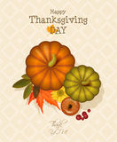 Happy Thanksgiving Day card with pumpkin, autumn leaves and space for your text. Royalty Free Stock Image
