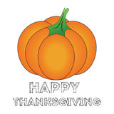 Happy Thanksgiving Day card with pumpkin. Happy Thanksgiving Day logotype, badge and icon with pumpkin Stock Photography