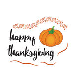 Happy Thanksgiving Day card with pumpkin. Happy Thanksgiving Day logotype, badge and icon with pumpkin Royalty Free Stock Photos