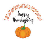 Happy Thanksgiving Day card with pumpkin. Happy Thanksgiving Day logotype, badge and icon with pumpkin Royalty Free Stock Images