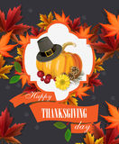 Happy Thanksgiving Day card with pumpkins and pilgrims hat. Happy Thanksgiving Day poster in vintage style with pumpkins and pilgrims hat Stock Photography