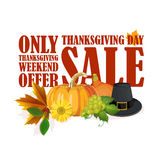 Happy Thanksgiving Day card with red sale label Royalty Free Stock Photos