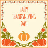 Happy Thanksgiving day card. Traditional embroidered background with pumpkin Royalty Free Stock Image