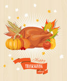 Happy Thanksgiving Day card with turkey. Happy Thanksgiving Day poster in vintage style with turkey Stock Photography