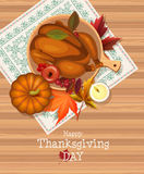 Happy Thanksgiving Day card with turkey and tablecloth with embroidery Stock Images