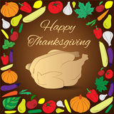 Happy thanksgiving day card. Vector Illustration. Happy thanksgiving day card with blue text. Vector Illustration Royalty Free Stock Photos