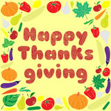 Happy thanksgiving day card. Vector Illustration. Happy thanksgiving day card with blue text. Vector Illustration Royalty Free Stock Images