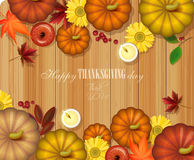 Happy Thanksgiving Day card with wooden background. Happy Thanksgiving Day poster in vintage style with wooden background Stock Photo