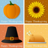 Happy Thanksgiving Day Cards. Collection of four colorful Happy Thanksgiving day greetings cards. Eps file available Royalty Free Stock Images