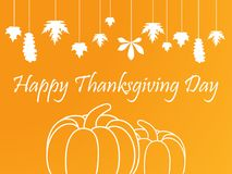 Happy Thanksgiving Day. Celebrations background. With hanging leaves and pumpkins. Vector illustration Stock Photography