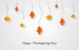Happy Thanksgiving Day celebrations greeting card. Design with hanging maple leaves on a bright background royalty free stock image
