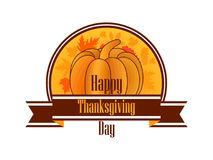 Happy Thanksgiving Day. Celebratory banner with pumpkin. And ribbon on white background. Autumn leaves. Vector illustration Stock Photography