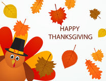 Happy thanksgiving Day. Colorful cartoon turkey bird with autumn Stock Images