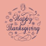 Happy thanksgiving day concept background, simple style stock illustration