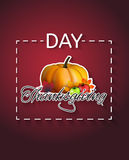 Happy Thanksgiving Day concept logotype. Happy Thanksgiving Day concept with pumpkin on autumn leaves background, can be used as flyer, banner or poster. Vector Royalty Free Stock Photo