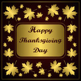 Happy Thanksgiving day. Congratulation on gold background with maple leaf. Stock Photo