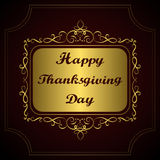 Happy Thanksgiving day. Congratulation on gold vintage calligraphic background Royalty Free Stock Image
